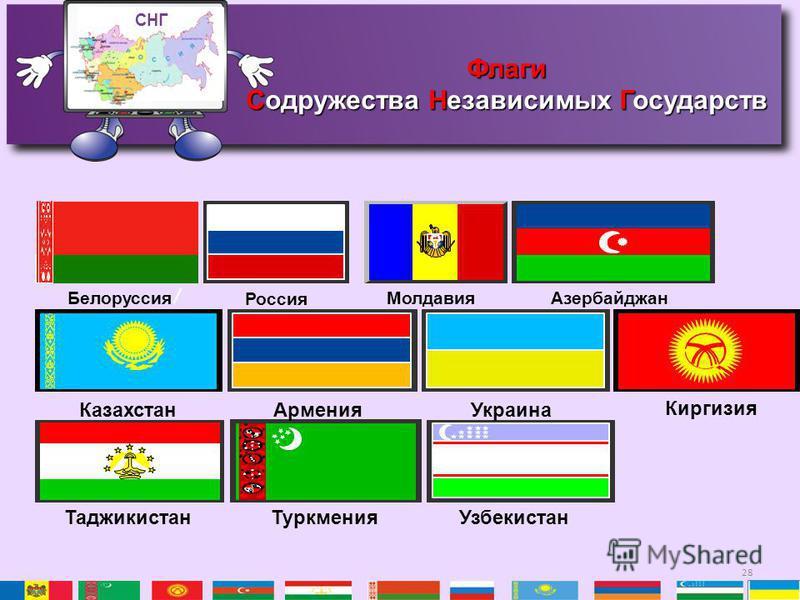 28 Белоруссия Россия Молдавия Азербайджан Казахстан АарменияУкраина Киргизия Таджикистан ТуркменияУзбекистан СНГ Флаги Содружества Независимых Государств