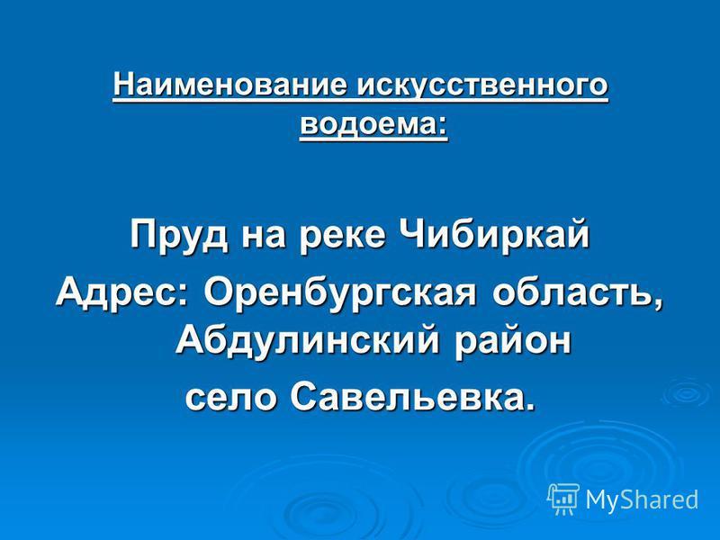 Наименование искусственного водоема: Пруд на реке Чибиркай Адрес: Оренбургская область, Абдулинский район село Савельевка.
