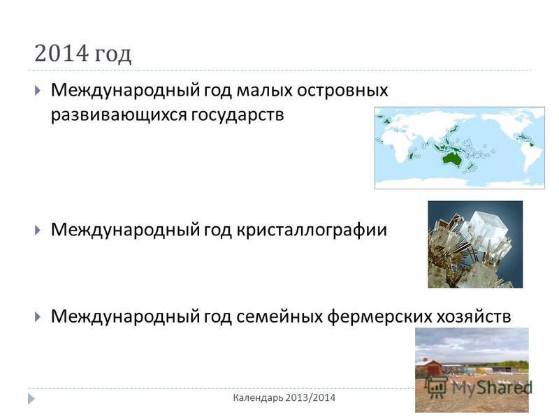 2014 год Календарь 2013/2014 Международный год малых островных развивающихся государств Международный год кристаллографии Международный год семейных фермерских хозяйств