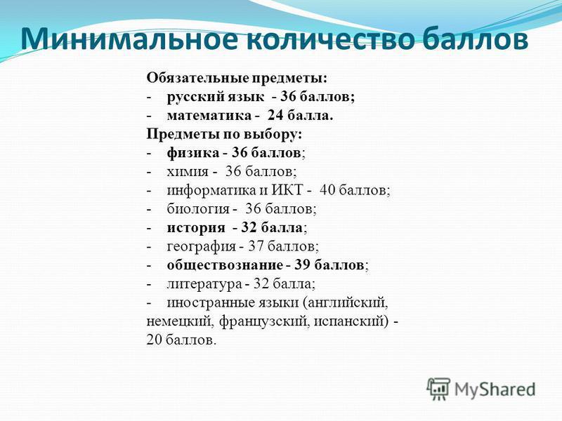 Минимальное количество баллов Обязательные предметы: - русский язык - 36 баллов; - математика - 24 балла. Предметы по выбору: - физика - 36 баллов; - химия - 36 баллов; - информатика и ИКТ - 40 баллов; - биология - 36 баллов; - история - 32 балла; -