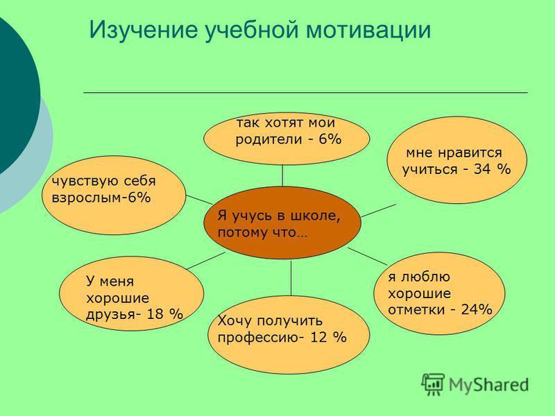 Изучение учебной мотивации так хотят мои родители - 6% мне нравится учиться - 34 % Я учусь в школе, потому что… я люблю хорошие отметки - 24% Хочу получить профессию- 12 % У меня хорошие друзья- 18 % чувствую себя взрослым-6%