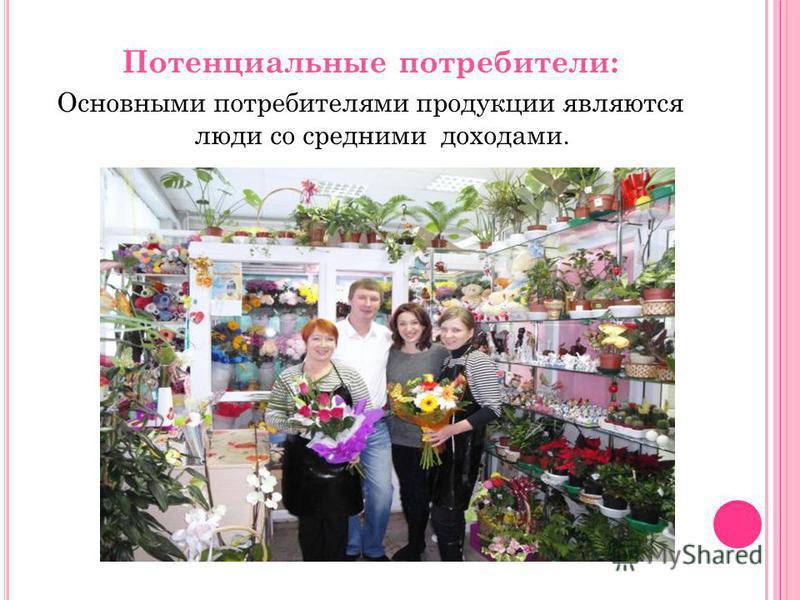 Потенциальные потребители: Основными потребителями продукции являются люди со средними доходами.