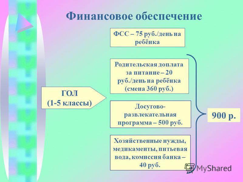 Финансовое обеспечение ГОЛ (1-5 классы) ФСС – 75 руб./день на ребёнка Родительская доплата за питание – 20 руб./день на ребёнка (смена 360 руб.) Досугово- развлекательная программа – 500 руб. Хозяйственные нужды, медикаменты, питьевая вода, комиссия