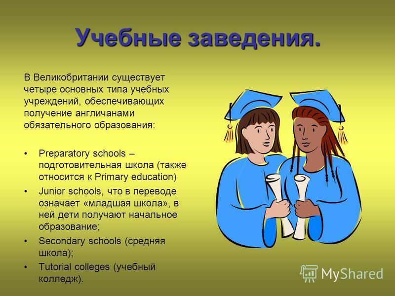Учебные заведения. В Великобритании существует четыре основных типа учебных учреждений, обеспечивающих получение англичанами обязательного образования: Preparatory schools – подготовительная школа (также относится к Primary education) Junior schools,