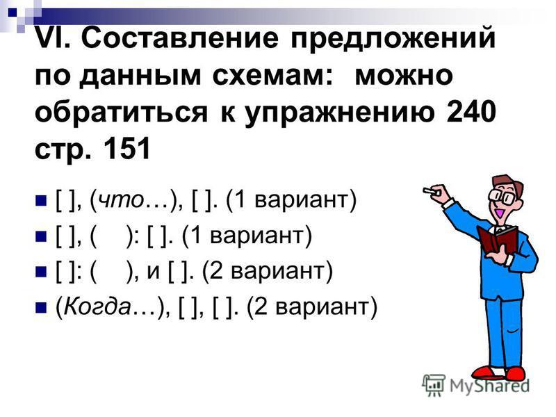 VI. Составление предложений по данным схемам: можно обратиться к упражнению 240 стр. 151 [ ], (что…), [ ]. (1 вариант) [ ], ( ): [ ]. (1 вариант) [ ]: ( ), и [ ]. (2 вариант) (Когда…), [ ], [ ]. (2 вариант)