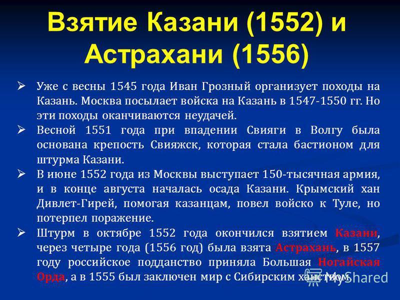 Уже с весны 1545 года Иван Грозный организует походы на Казань. Москва посылает войска на Казань в 1547-1550 гг. Но эти походы оканчиваются неудачей. Весной 1551 года при впадении Свияги в Волгу была основана крепость Свияжск, которая стала бастионом