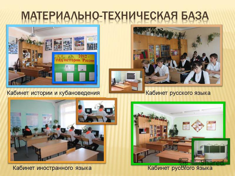 Кабинет истории и кубановедения Кабинет русского языка Кабинет иностранного языка Кабинет русского языка