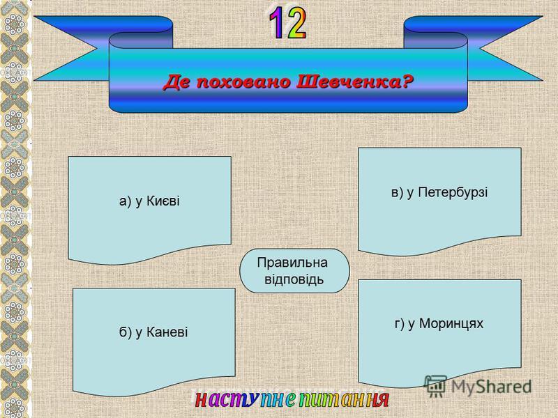 Де поховано Шевченка? а) у Києві б) у Каневі г) у Моринцях в) у Петербурзі Б Правильна відповідь