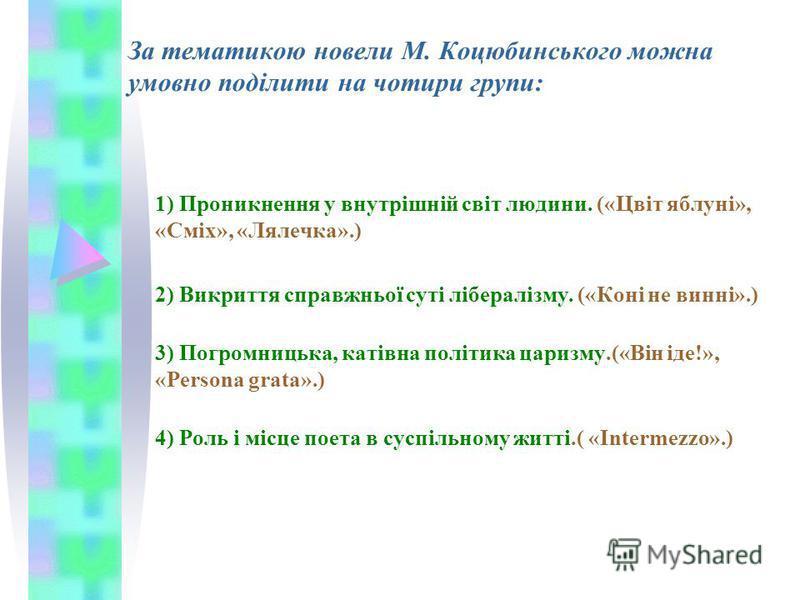 За тематикою новели М. Коцюбинського можна умовно поділити на чотири групи: 1) Проникнення у внутрішній світ людини. («Цвіт яблуні», «Сміх», «Лялечка».) 2) Викриття справжньої суті лібералізму. («Коні не винні».) 3) Погромницька, катівна політика цар