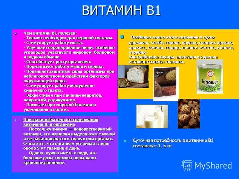 ВИТАМИН В1 Чем витамин В1 полезен: - Тиамин необходим для нервной системы. - Стимулирует работу мозга. - Улучшает переваривание пищи, особенно углеводов, участвует в жировом, белковом и водном обмене. - Способствует росту организма. - Нормализует раб