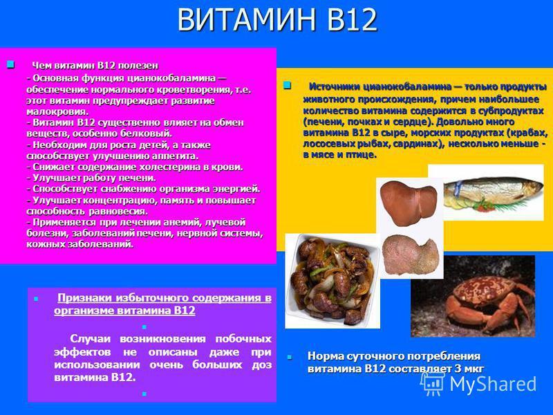 ВИТАМИН В12 Чем витамин В12 полезен - Основная функция цианокобаламина обеспечение нормального кроветворения, т.е. этот витамин предупреждает развитие малокровия. - Витамин В12 существенно влияет на обмен веществ, особенно белковый. - Необходим для р