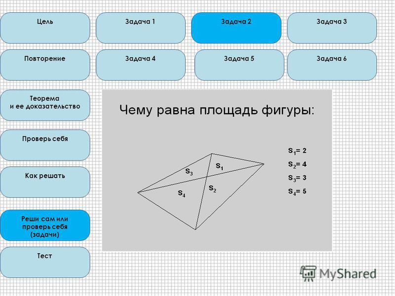 Цель Повторение Теорема и ее доказательство Проверь себя Как решать Реши сам или проверь себя (задачи) Тест Задача 1 Задача 6 Задача 3 Задача 4Задача 5 Задача 2