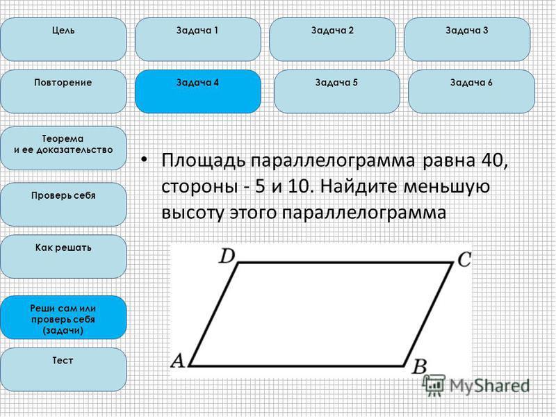 Цель Повторение Теорема и ее доказательство Проверь себя Как решать Реши сам или проверь себя (задачи) Тест Задача 1Задача 2Задача 3 Задача 6Задача 5Задача 4 Площадь параллелограмма равна 40, стороны - 5 и 10. Найдите меньшую высоту этого параллелогр