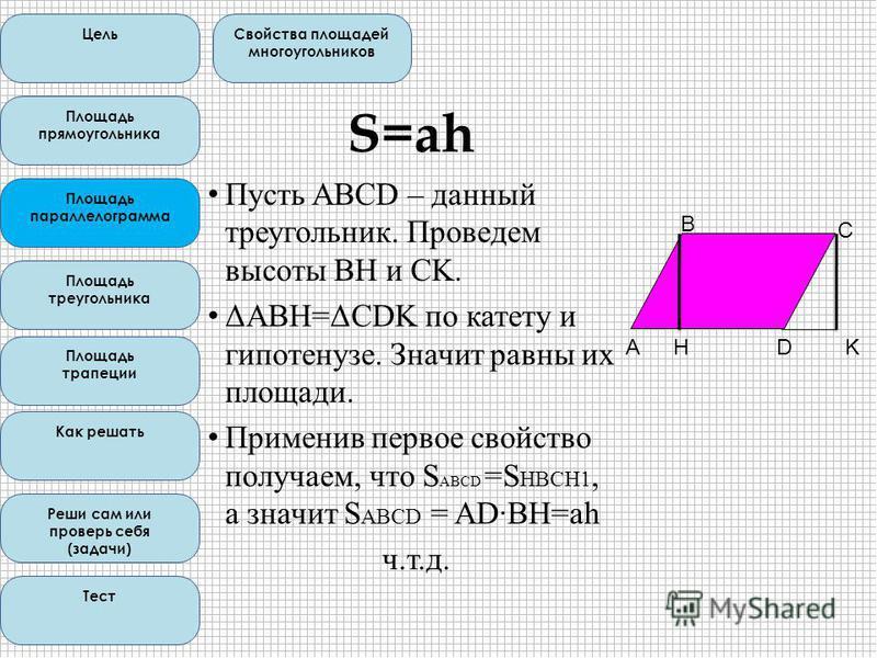 S=ah Пусть ABCD – данный треугольник. Проведем высоты BH и CK. ΔABH=ΔCDK по катету и гипотенузе. Значит равны их площади. Применив первое свойство получаем, что S ABCD =S HBCH1, а значит S ABCD = AD·ВН=ah ч.т.д. Цель Свойства площадей многоугольников