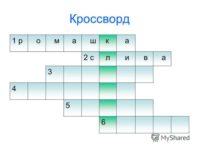 Кроссворд 1 р о м а ш к а 2 с л и в а 3 4 5 6