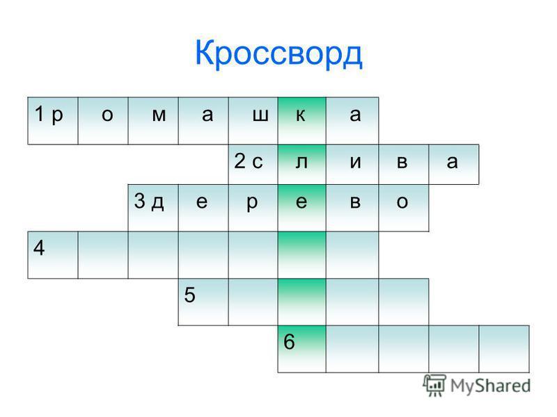 Кроссворд 1 р о м а ш к а 2 с л и в а 3 д е р е в о 4 5 6
