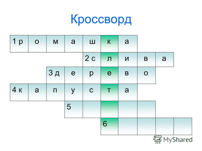 Кроссворд 1 р о м а ш к а 2 с л и в а 3 д е р е в о 4 к а п у с т а 5 6