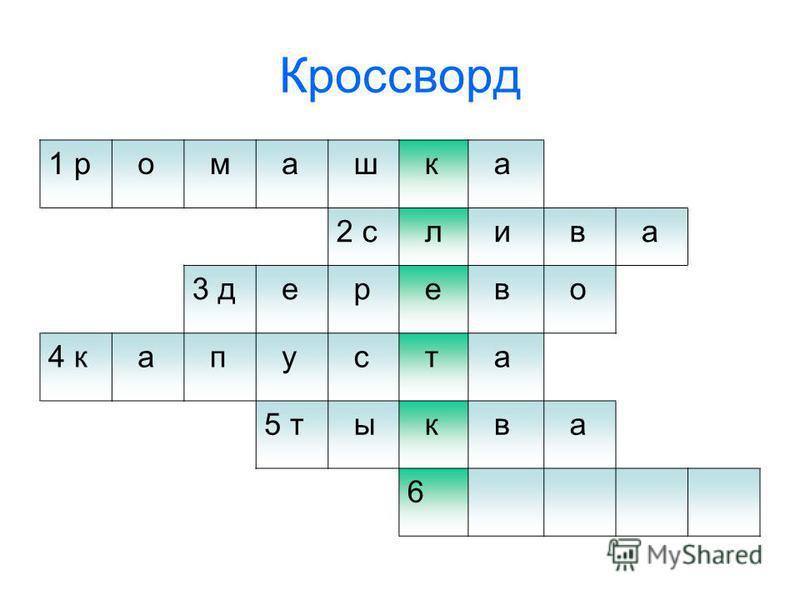 Кроссворд 1 р о м а ш к а 2 с л и в а 3 д е р е в о 4 к а п у с т а 5 т ы к в а 6