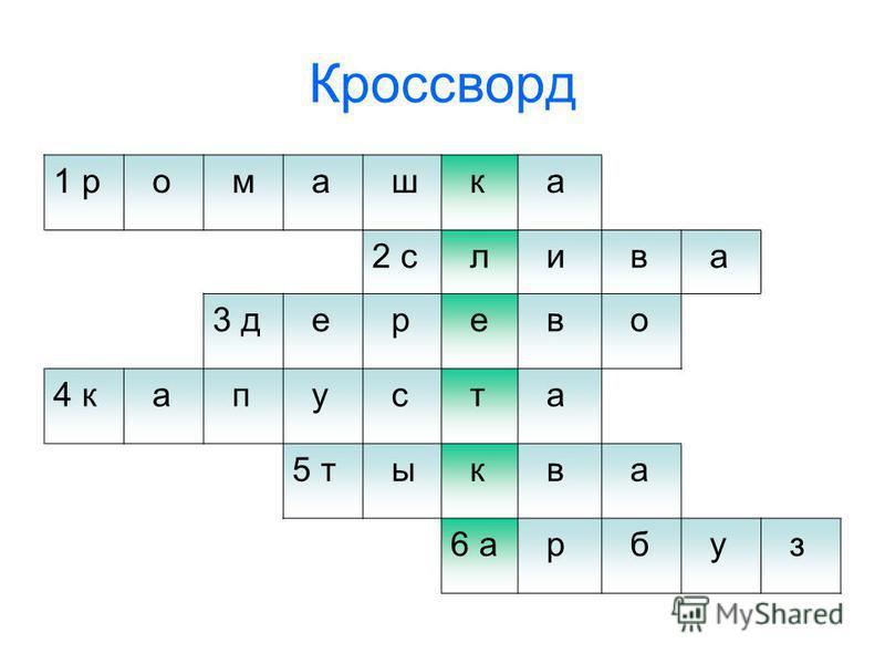 Кроссворд 1 р о м а ш к а 2 с л и в а 3 д е р е в о 4 к а п у с т а 5 т ы к в а 6 а р б у з
