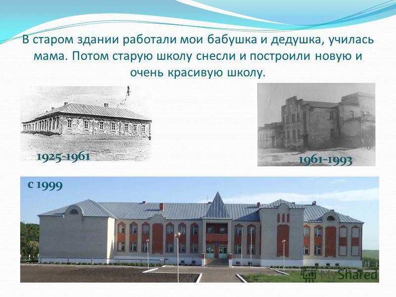 В старом здании работали мои бабушка и дедушка, училась мама. Потом старую школу снесли и построили новую и очень красивую школу. 1925-1961 1961-1993 с 1999