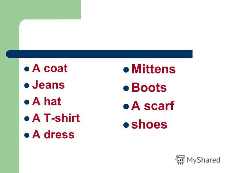 A coat Jeans A hat A T-shirt A dress Mittens Boots A scarf shoes