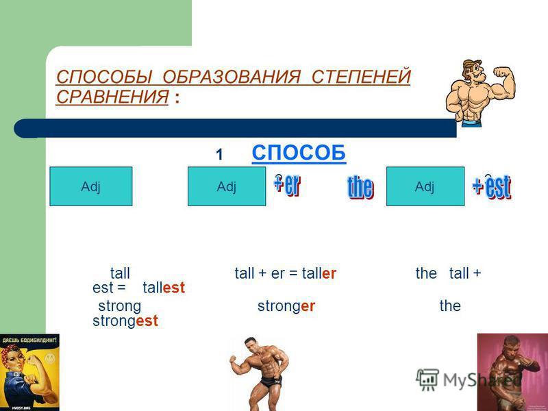СПОСОБЫ ОБРАЗОВАНИЯ СТЕПЕНЕЙ СРАВНЕНИЯ : 1 СПОСОБ 1 2 3 tall tall + er = taller the tall + est = tallest strong stronger the strongest Adj