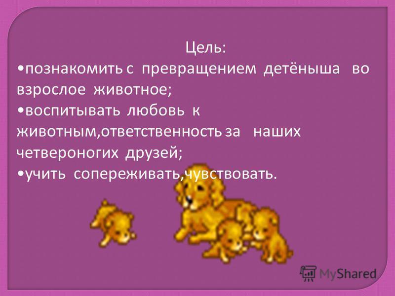 Цель: познакомить с превращением детёныша во взрослое животное; воспитывать любовь к животным,ответственность за наших четвероногих друзей; учить сопереживать,чувствовать.