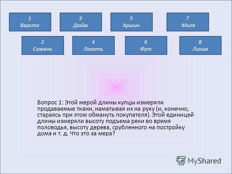 Тема: «Старые русские меры длины».