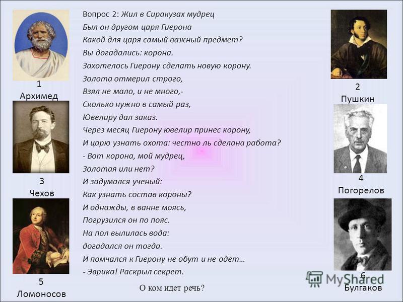 Вопрос 1: Назовите фамилию автора учебника «Геометрия», по которому вы учитесь. 1 Архимед 4 Погорелов 2 Пушкин 5 Ломоносов 3 Чехов 6 Булгаков