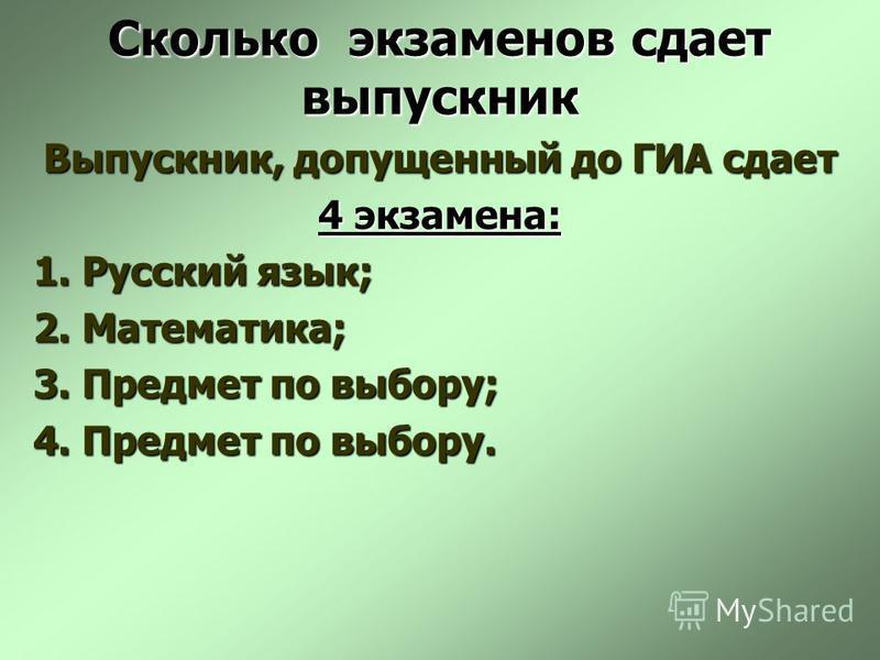 Сколько экзаменов сдает выпускник Выпускник, допущенный до ГИА сдает 4 экзамена: 1. Русский язык; 2. Математика; 3. Предмет по выбору; 4. Предмет по выбору.