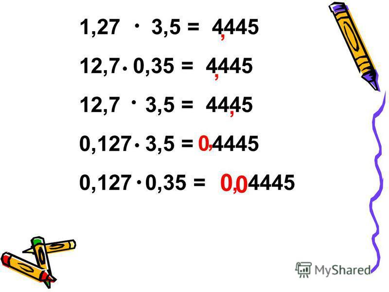 1,27 3,5 = 4445 12,7 0,35 = 4445 12,7 3,5 = 4445 0,127 3,5 = 4445 0,127 0,35 = 4445,,,,, 0 0 0