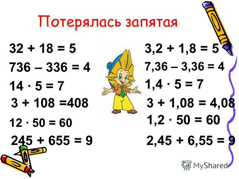 Потерялась запятая 32 + 18 = 5 736 – 336 = 4 14 5 = 7 3 + 108 =408 245 + 655 = 9 3,2 + 1,8 = 5 1,4 5 = 7 3 + 1,08 = 4,08 1,2 50 = 60 2,45 + 6,55 = 9 12 50 = 60 7,36 – 3,36 = 4