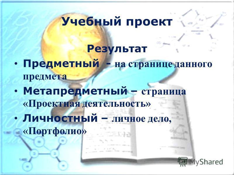 Учебный проект Результат Предметный - на странице данного предмета Метапредметный – страница «Проектная деятельность» Личностный – личное дело, «Портфолио»