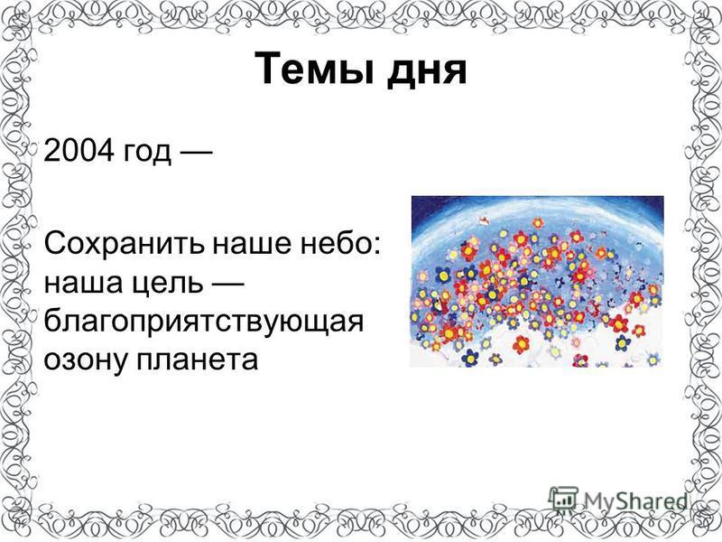 Темы дня 2004 год Сохранить наше небо: наша цель благоприятствующая озону планета