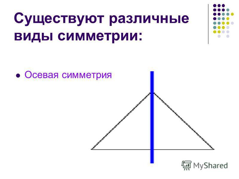 Существуют различные виды симметрии: Осевая симметрия