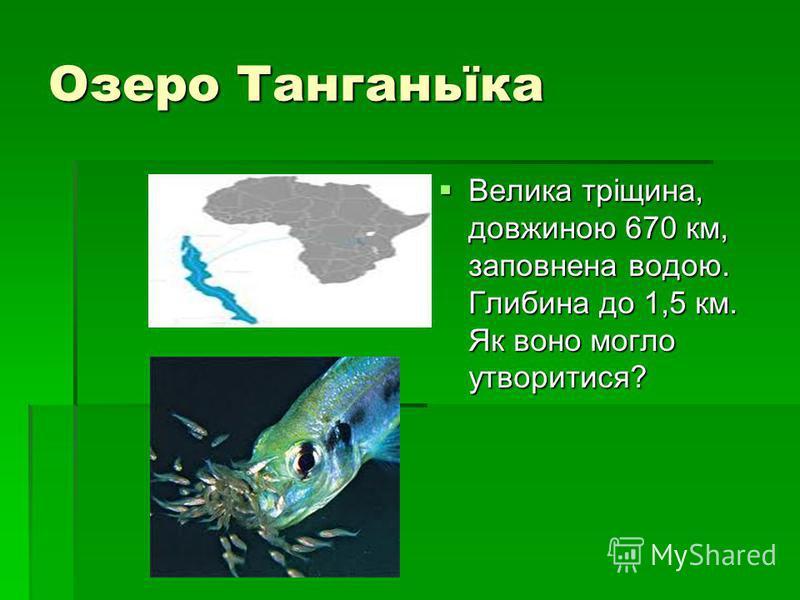 Озеро Танганьїка Велика тріщина, довжиною 670 км, заповнена водою. Глибина до 1,5 км. Як воно могло утворитися? Велика тріщина, довжиною 670 км, заповнена водою. Глибина до 1,5 км. Як воно могло утворитися?