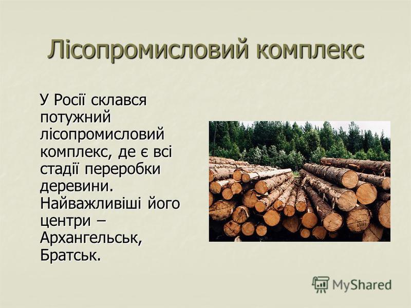 Лісопромисловий комплекс У Росії склався потужний лісопромисловий комплекс, де є всі стадії переробки деревини. Найважливіші його центри – Архангельськ, Братськ. У Росії склався потужний лісопромисловий комплекс, де є всі стадії переробки деревини. Н