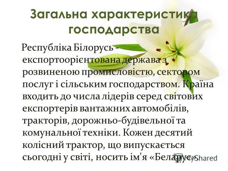 Республіка Білорусь - експортоорієнтована держава з розвиненою промисловістю, сектором послуг і сільським господарством. Країна входить до числа лідерів серед світових експортерів вантажних автомобілів, тракторів, дорожньо-будівельної та комунальної