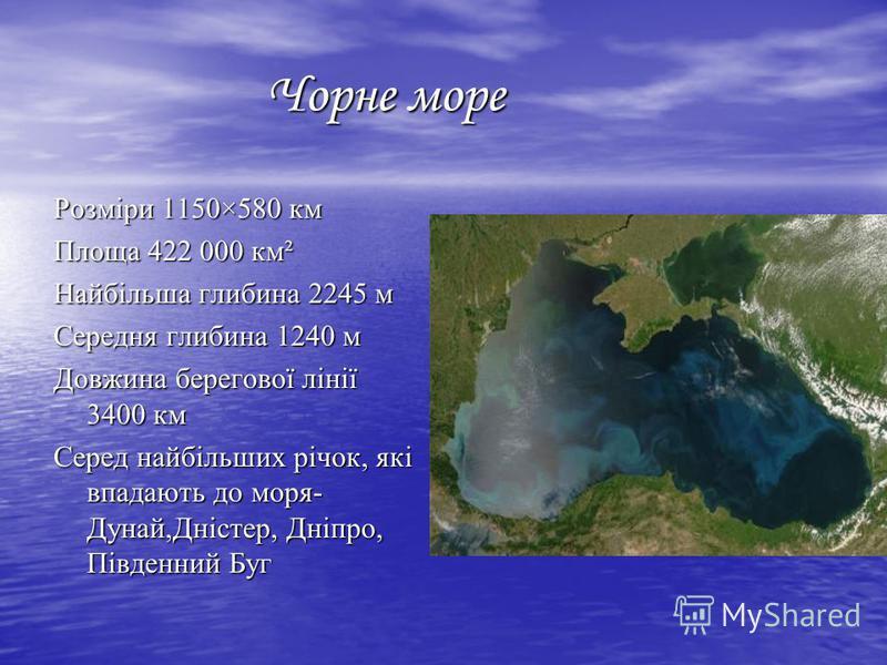 Чорне море Чорне море Розміри 1150×580 км Площа 422 000 км² Найбільша глибина 2245 м Середня глибина 1240 м Довжина берегової лінії 3400 км Серед найбільших річок, які впадають до моря- Дунай,Дністер, Дніпро, Південний Буг