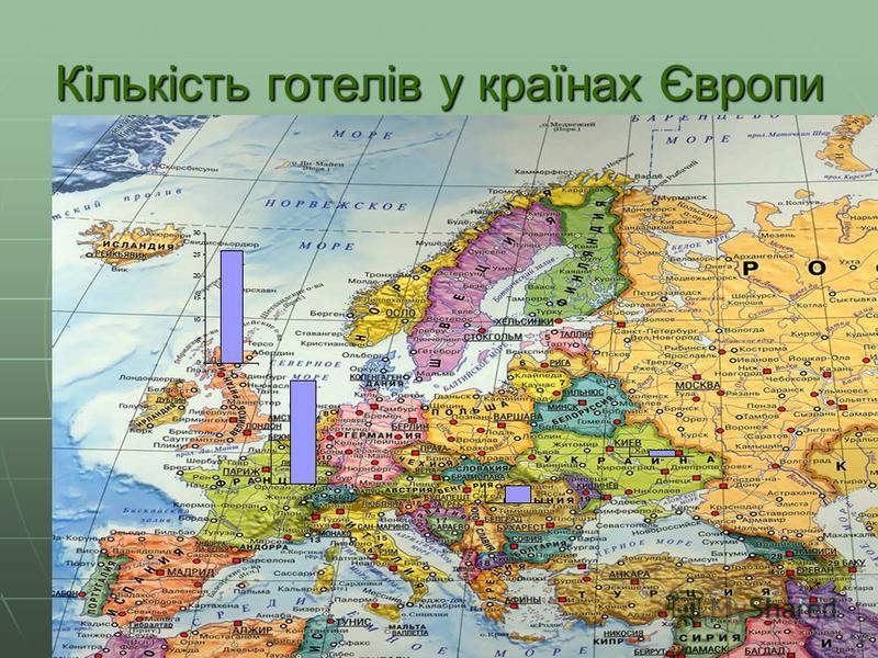Кількість готелів у країнах Європи