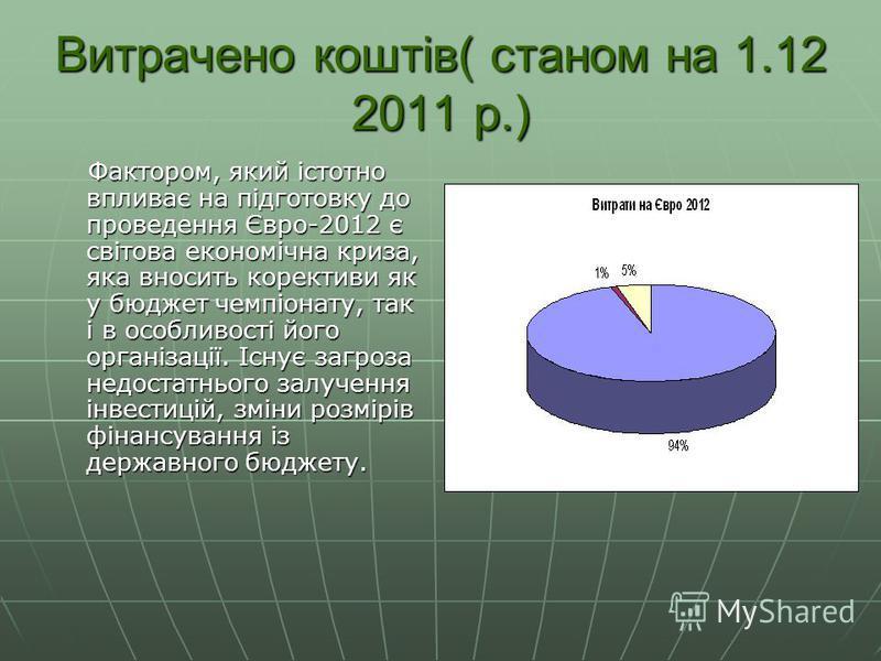 Витрачено коштів( станом на 1.12 2011 р.) Фактором, який істотно впливає на підготовку до проведення Євро-2012 є світова економічна криза, яка вносить корективи як у бюджет чемпіонату, так і в особливості його організації. Існує загроза недостатнього