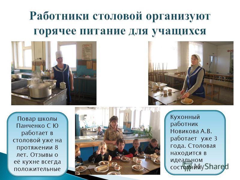 Повар школы Панченко С Ю работает в столовой уже на протяжении 8 лет. Отзывы о её кухне всегда положительные Кухонный работник Новикова А.В. работает уже 3 года. Столовая находится в идеальном состоянии