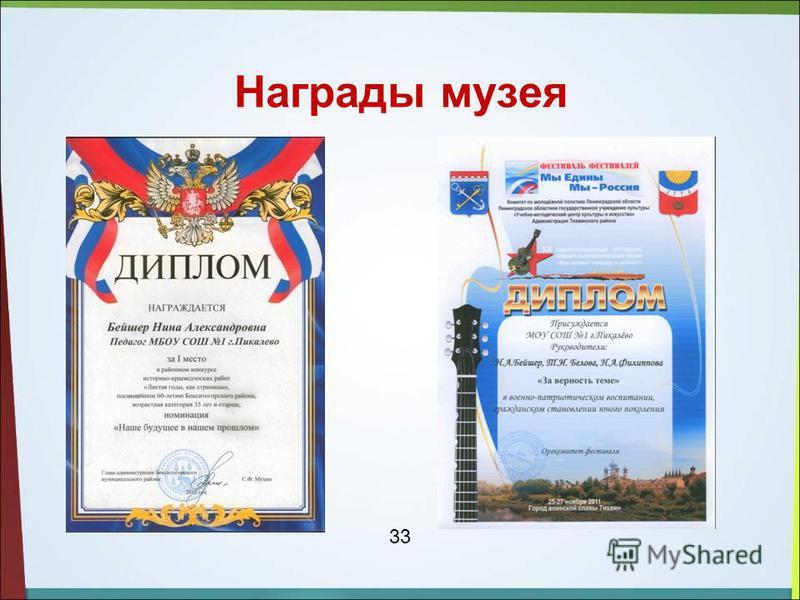 Награды музея 33