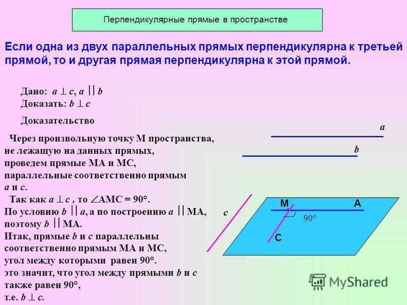 Если одна из двух параллельных прямых перпендикулярна к третьей прямой, то и другая прямая перпендикулярна к этой прямой. Дано: a c, a b Доказать: b c a b c М С А Доказательство Через произвольную точку М пространства, не лежащую на данных прямых, пр