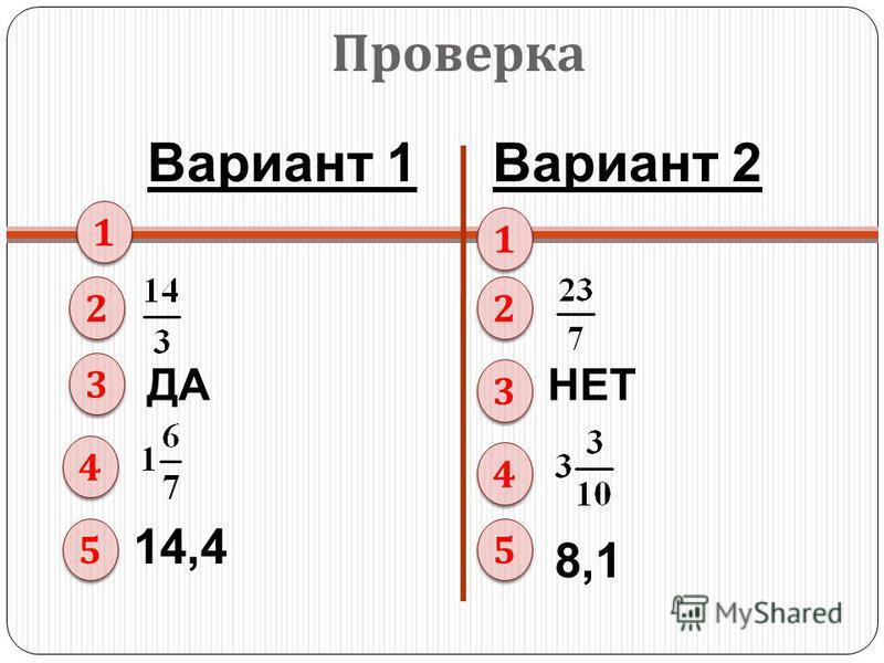 Вариант 1Вариант 2 Проверка 1 1 2 2 3 3 4 4 5 5 1 1 2 2 3 3 4 4 5 5 ДАНЕТ 14,4 8,1
