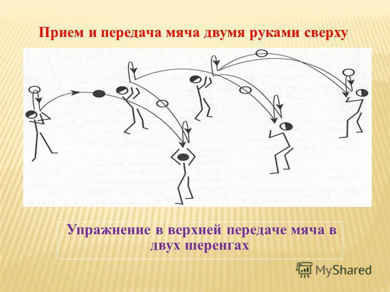 Упражнение в верхней передаче мяча в двух шеренгах Прием и передача мяча двумя руками сверху