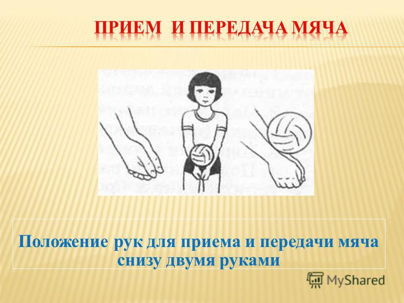 Положение рук для приема и передачи мяча снизу двумя руками