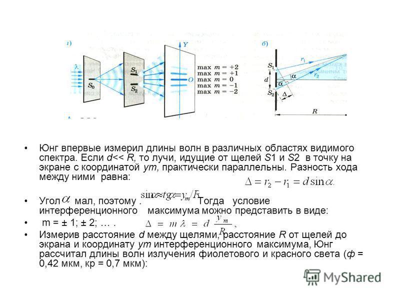 Юнг впервые измерил длины волн в различных областях видимого спектра. Если d<< R, то лучи, идущие от щелей S1 и S2 в точку на экране с координатой yт, практически параллельны. Разность хода между ними равна: Угол мал, поэтому. Тогда условие интерфере