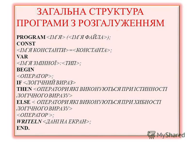 ЗАГАЛЬНА СТРУКТУРА ПРОГРАМИ З РОЗГАЛУЖЕННЯМ PROGRAM ( ); CONST = ; VAR : ; BEGIN ; IF THEN ELSE ; WRITELN ; END.