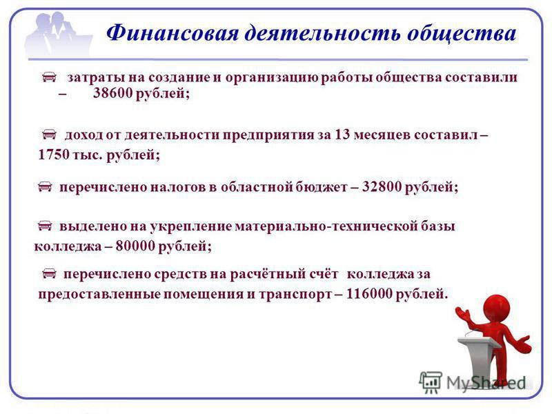 Финансовая деятельность общества затраты на создание и организацию работы общества составили – 38600 рублей; доход от деятельности предприятия за 13 месяцев составил – 1750 тыс. рублей; перечислено налогов в областной бюджет – 32800 рублей; выделено